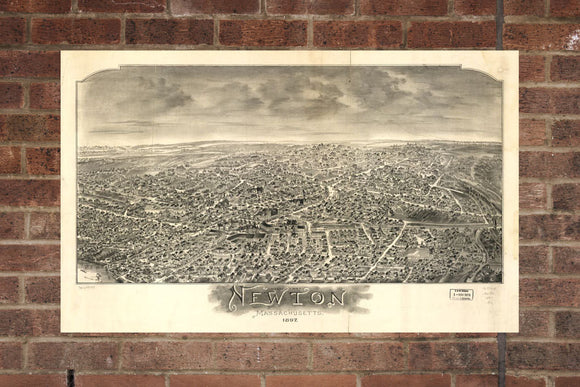 Vintage Newton Print, Aerial Newton Photo, Vintage Newton MA Pic, Old Newton Photo, Newton Massachusetts Poster, 1897