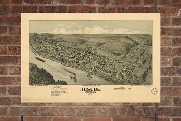 Vintage Roscoe Print, Aerial Roscoe Photo, Vintage Roscoe PA Pic, Old Roscoe Photo, Roscoe Pennsylvania Poster, 1902