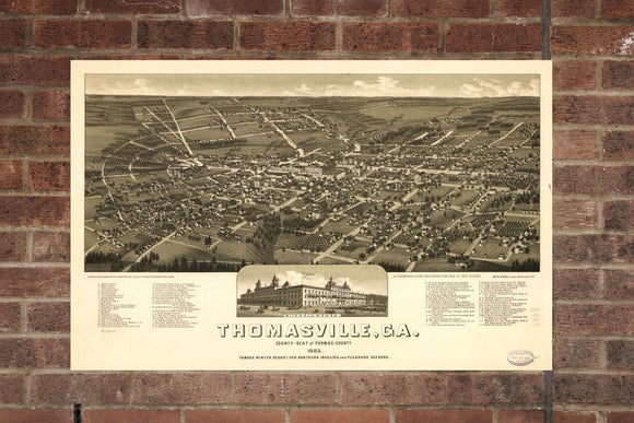 Vintage Thomasville Print, Aerial Thomasville Photo, Vintage Thomasville GA Pic, Old Thomasville Photo, Thomasville Georgia Poster, 1885
