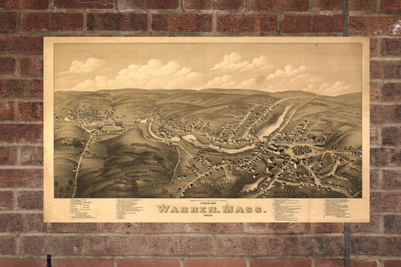 Vintage Warren Print, Aerial Warren Photo, Vintage Warren MA Pic, Old Warren Photo, Warren Massachusetts Poster, 1879