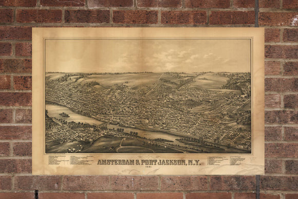 Vintage Amsterdam Print, Aerial Amsterdam Photo, Vintage Amsterdam NY Pic, Old Amsterdam Photo, Amsterdam New York  Poster 1881
