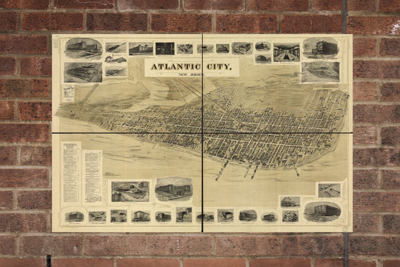 Vintage Atlantic City Print, Aerial Atlantic City Pic, Vintage Atlantic City NJ Pic, Old Atlantic City Pic, Atlantic City New Jersey Poster
