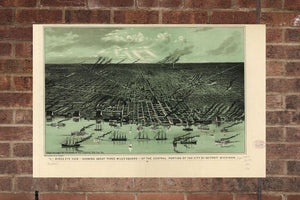 Vintage Detroit Print, Aerial Detroit Photo, Vintage Detroit MI Pic, Old Detroit Photo, Detroit Michigan Poster, 1889