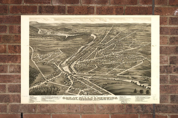 Vintage Great Falls Print, Aerial Great Falls Photo, Vintage Great Falls Pic, Old Great Falls Photo, Great Falls New Hampshire Poster, 1877