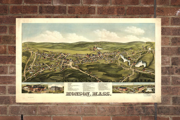 Vintage Monson Print, Aerial Monson Photo, Vintage Monson MA Pic, Old Monson Photo, Monson Massachusetts Poster, 1879