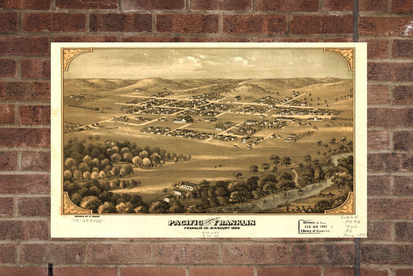 Vintage Pacific Print, Aerial Pacific Photo, Vintage Pacific MO Pic, Old Pacific Photo, Pacific Missouri Poster, 1869
