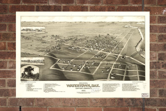 Vintage Watertown Print, Aerial Watertown Photo, Vintage Watertown SD Pic, Old Watertown Photo, Watertown South Dakota Poster, 1883
