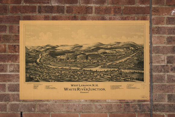 Vintage White River Junction, Aerial River Junction Photo, Vintage River Junction VT Pic, Old River Junction Photo, Vermont Poster, 1877