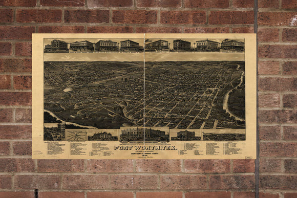 Vintage Fort Worth Print, Aerial Fort Worth Photo, Vintage Fort Worth TX Pic, Old Fort Worth Photo, Fort Worth Texas Poster, 1886