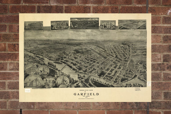 Vintage Garfield Print, Aerial Garfield Photo, Vintage Garfield NJ Pic, Old Garfield Photo, Garfield New Jersey Poster, 1909