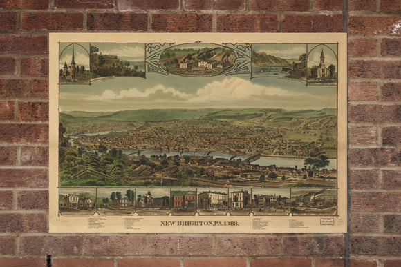 Vintage New Brighton Print, Aerial New Brighton Photo, Vintage New Brighton PA Pic, Old New Brighton Photo, New Brighton Pennsylvania Poster