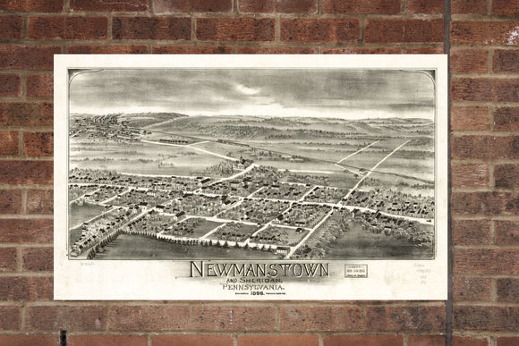 Vintage Newmanstown Print, Aerial Newmanstown Photo, Vintage Newmanstown PA Pic, Old Newmanstown Photo, Newmanstown Pennsylvania Poster,1898