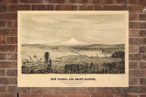 Vintage Tacoma Print, Aerial Tacoma Photo, Vintage Tacoma WA Pic, Old Tacoma Photo, Tacoma Washington Poster, 1878