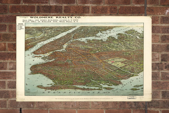 Vintage Brooklyn Print, Aerial Brooklyn Photo, Vintage Brooklyn NY Pic, Old Brooklyn Photo, Brooklyn Minnesota Poster, 1908