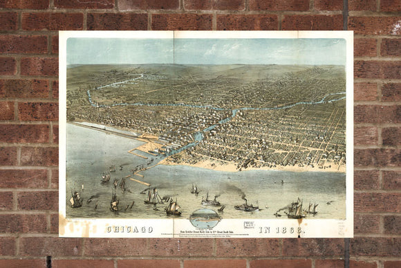 Vintage Chicago Print, Aerial Chicago Photo, Vintage Chicago IL Pic, Old Chicago Photo, Chicago Illinois Poster, 1868