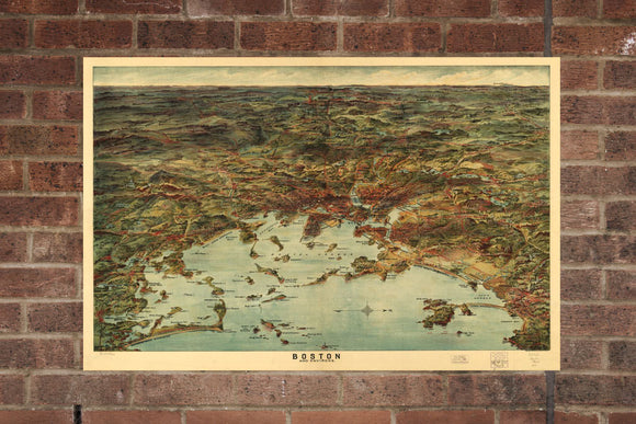 Vintage Boston Print, Aerial Boston Photo, Vintage Boston MA Pic, Old Boston Photo, Boston Massachusetts Poster, 1905