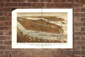 Vintage Brooklyn Print, Aerial Brooklyn Photo, Vintage Brooklyn NY Pic, Old Brooklyn Photo, Brooklyn New York  Poster 1877