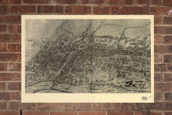 Vintage Arlington Print, Aerial Arlington Photo, Vintage Arlington NJ Pic, Old Arlington Photo, Arlington New Jersey Poster, 1907