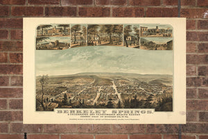 Berkeley Springs West Virginia Vintage Print Poster Map 1889 Poster of WV Map Art Wall Decor