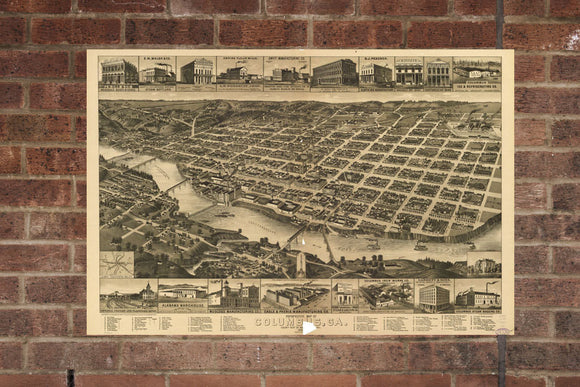 Vintage Columbus Print, Aerial Columbus Photo, Vintage Columbus GA Pic, Old Columbus Photo, Columbus Georgia Poster, 1886