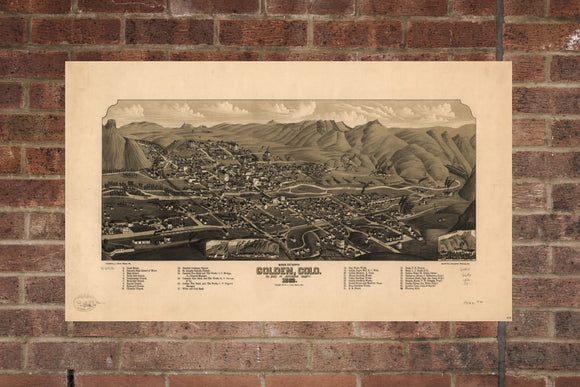 Vintage Golden Print, Aerial Golden Photo, Vintage Golden CO Pic, Old Golden Photo, Golden Colorado Poster, 1882