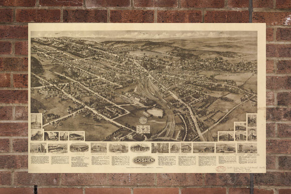 Vintage Goshen Print, Aerial Goshen Photo, Vintage Goshen NY Pic, Old Goshen Photo, Goshen New York Poster, 1922