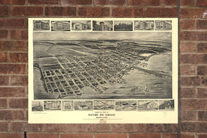 Vintage Havre de Grace Print, Aerial Havre de Grace Photo, Havre de Grace MD, Old Havre de Grace Photo, Havre de Grace Maryland Poster, 1907