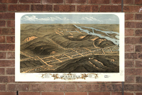 Vintage McGregor Print, Aerial McGregor Photo, Vintage McGregor IA Pic, Old McGregor Photo, McGregor Iowa Poster, 1868