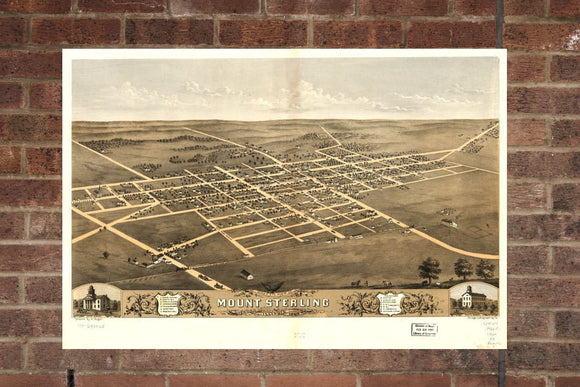 Vintage Mount Sterling Print, Aerial Mount Sterling Photo, Vintage Mount Sterling IL Pic, Old Mount Sterling Photo, Mount Sterling Illinois