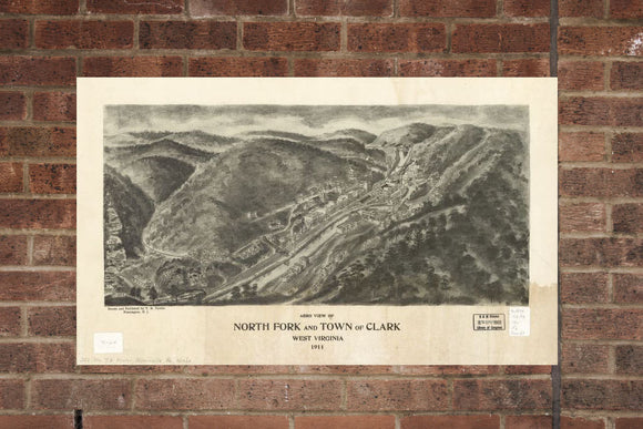 Vintage Northfork Print, Aerial Northfork Photo, Vintage Northfork WV Pic, Old Northfork Photo, Northfork West Virginia Poster, 1911