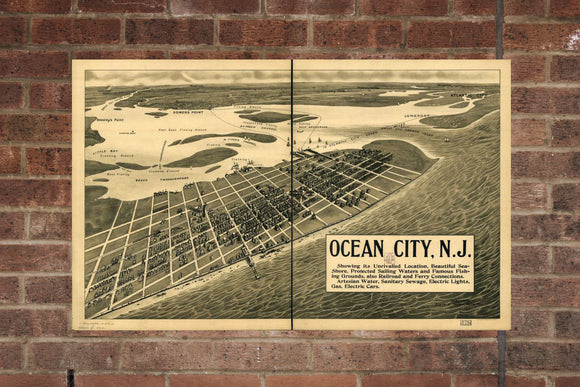 Vintage Ocean City Print, Aerial Ocean City Photo, Vintage Ocean City NJ Pic, Old Ocean City Photo, Ocean City New Jersey Poster, 1903