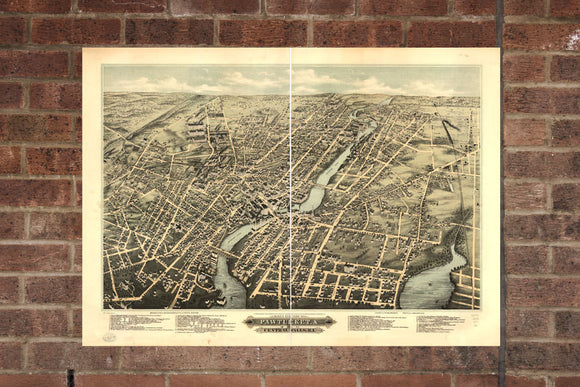 Vintage Pawtucket Print, Aerial Pawtucket Photo, Vintage Pawtucket RI Pic, Old Pawtucket Photo, Pawtucket Rhode Poster, 1877