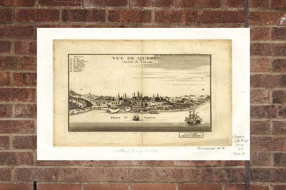Vintage Quebec Print, Aerial Quebec Photo, Vintage Quebec QC Pic, Old Quebec Photo, Quebec Quebec Poster, 1755