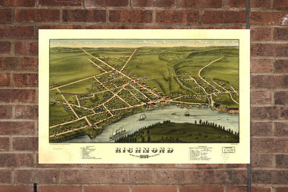 Vintage Richmond Print, Aerial Richmond Photo, Vintage Richmond ME Pic, Old Richmond Photo, Richmond Maine Poster, 1878