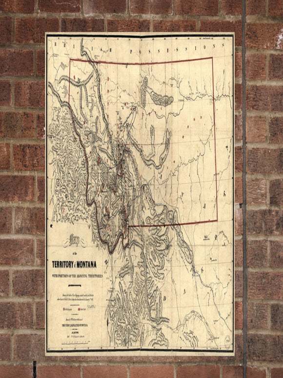 Vintage Montana Print, Aerial Montana Photo, Vintage MT Pic, Old Montana Photo, Montana Poster, 1865