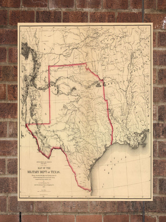 Vintage Texas Print, Aerial Texas Photo, Vintage TX Pic, Old Texas Photo, Texas Poster, 1859