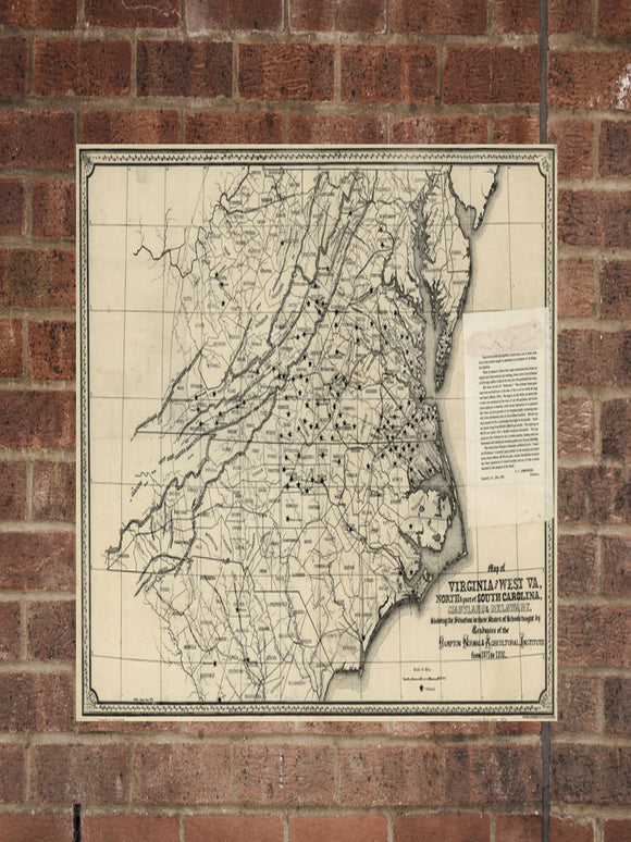 Vintage Virginia Print, Aerial Virginia Photo, Vintage VA Pic, Old Virginia Photo, Virginia Poster, 1876