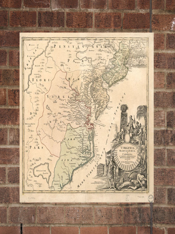 Vintage Virginia Print, Aerial Virginia Photo, Vintage VA Pic, Old Virginia Photo, Virginia Poster, 1759