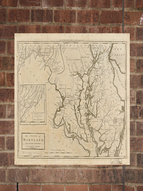 Vintage Maryland Print, Aerial Maryland Photo, Vintage MD Pic, Old Maryland Photo, Maryland Poster, 1795