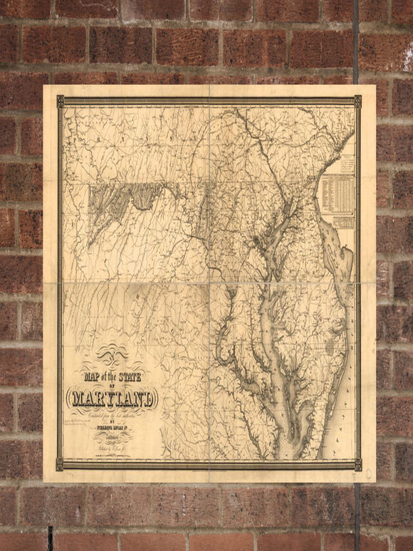 Vintage Maryland Print, Aerial Maryland Photo, Vintage MD Pic, Old Maryland Photo, Maryland Poster, 1841