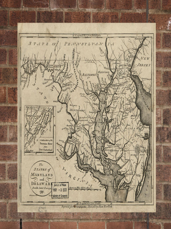Vintage Maryland Print, Aerial Maryland Photo, Vintage MD Pic, Old Maryland Photo, Maryland Poster, 1799