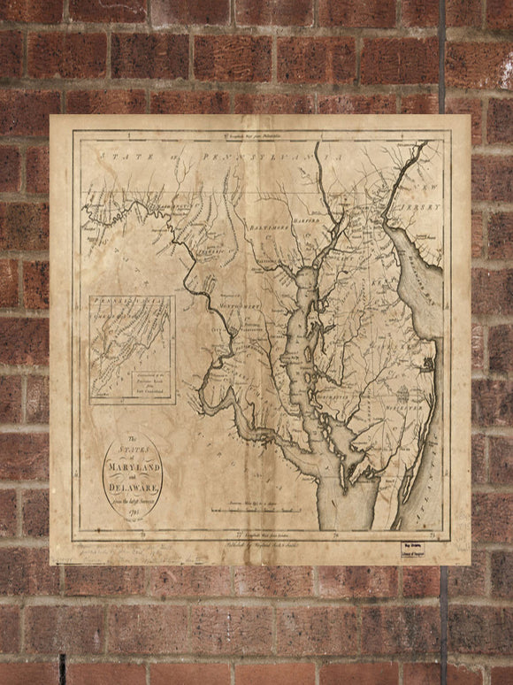Vintage Maryland Print, Aerial Maryland Photo, Vintage MD Pic, Old Maryland Photo, Maryland Poster, 1796