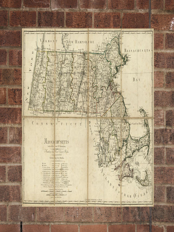 Vintage Massachusetts Print, Aerial Massachusetts Photo, Vintage MA Pic, Old Massachusetts Photo, Massachusetts Poster, 1796