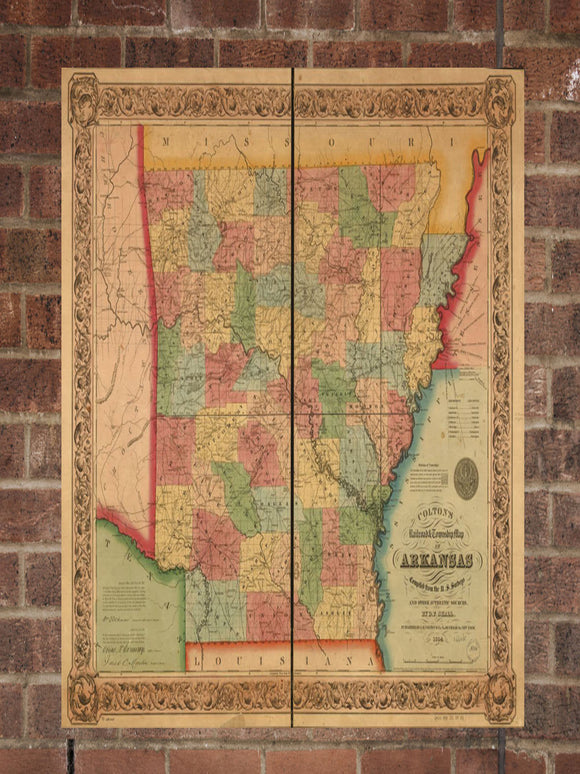 Vintage Arkansas Print, Aerial Arkansas Photo, Vintage AR Pic, Old Arkansas Photo, Arkansas Poster, 1854