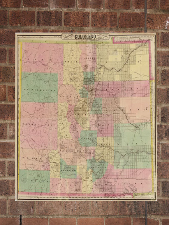 Vintage Colorado Print, Aerial Colorado Photo, Vintage CO Pic, Old Colorado Photo, Colorado Poster, 1878