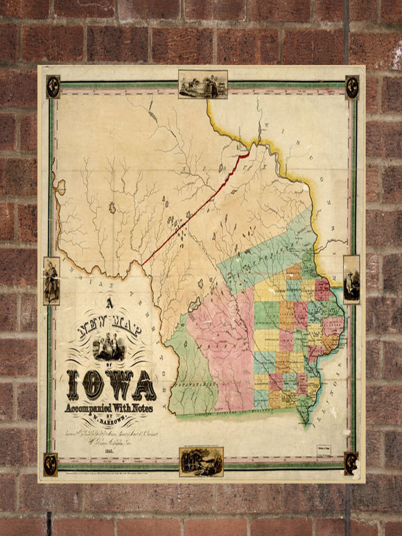 Vintage Iowa Print, Aerial Iowa Photo, Vintage IA Pic, Old Iowa Photo, Iowa Poster, 1845