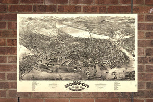 Vintage Boston Print, Aerial Boston Photo, Vintage Boston MA Pic, Old Boston Photo, Boston Massachusetts Poster, 1880