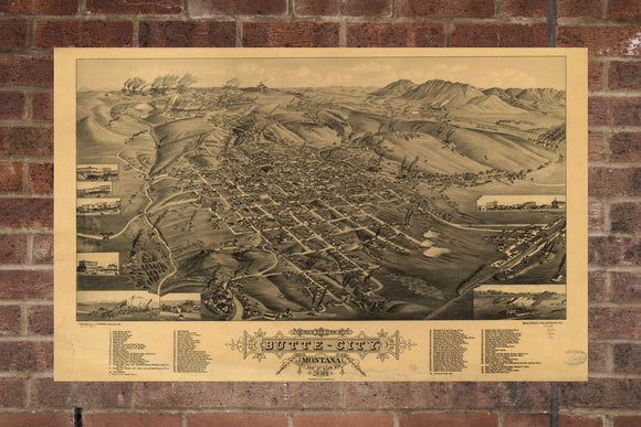 Vintage Butte Print, Aerial Butte Photo, Vintage Butte MT Pic, Old Butte Photo, Butte Montana Poster, 1884