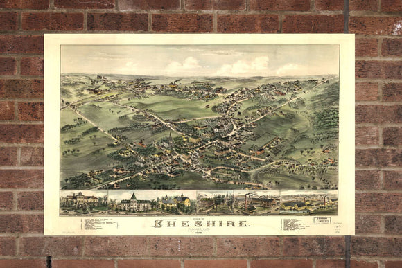 Vintage Cheshire Print, Aerial Cheshire Photo, Vintage Cheshire CT Pic, Old Cheshire Photo, Cheshire Connecticut Poster, 1882