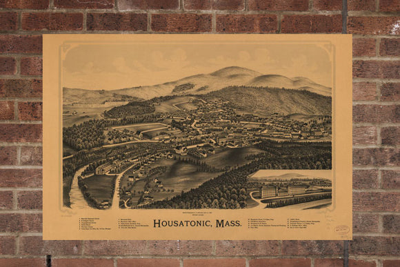 Vintage Housatonic Print, Aerial Housatonic Photo, Vintage Housatonic MA Pic, Old Housatonic Photo, Housatonic Massachusetts Poster, 1890